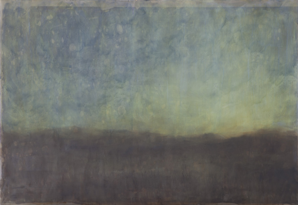 """"""" Evening Sky 2 """"  photocopy transfer with bees wax and oil pigment on mild steel, 84 x 60 cm,  R34000.00"""