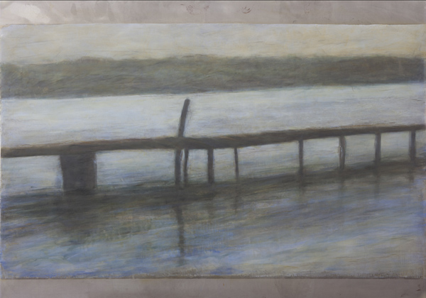 """""""The Jetty """" photocopy transfer with bees wax and oil pigment on mild steel, 1188 x 840cm, R55000.00"""